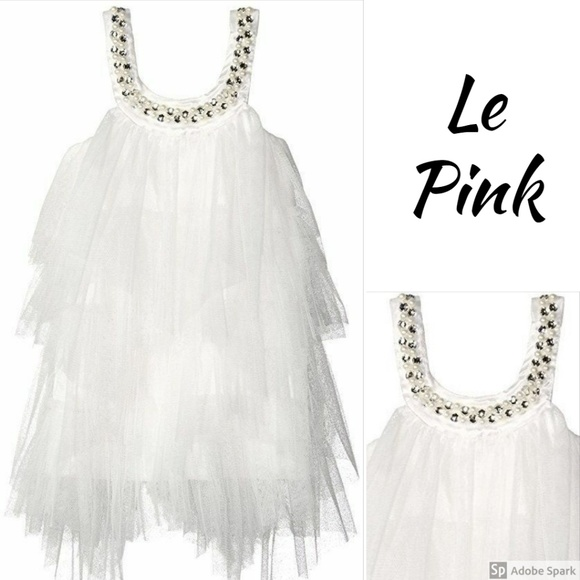 Le Pink Other - Boutique Tulle Dress Girls Tiered Mesh Fairy White